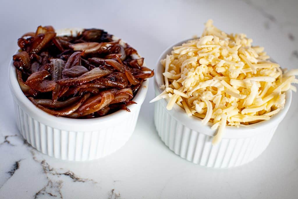 caramelized onions and grated cheese